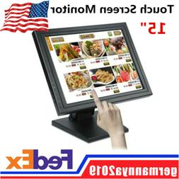 "15"" Touch Screen Monitor LCD VGA POS LED TouchScreen Kiosk R"