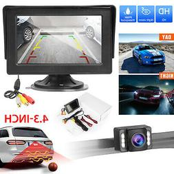 "4.3"" LCD Monitor Car Rear View System Backup Reverse Front C"