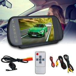 "7"" LCD Car Rear View Backup Mirror Monitor + Reverse Camera"