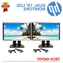 "DUAL HP 19"" LCD Monitors Matching Model Pair with cables - B"