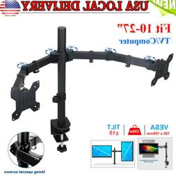 Dual Monitor Stand Mount Double Arm Computer For 13 - 27 Inc