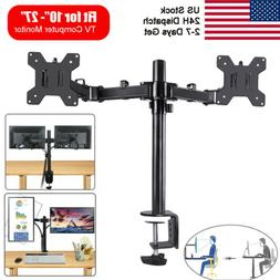 Free Standing Dual TV LCD Monitor Desk Mount Fit Two 2 Scree