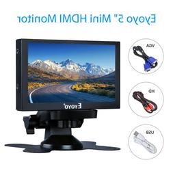 "5"" LCD HDMI Mini Monitor Car Rear View BNC VGA USB Metal Hou"