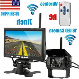 "7"" Wireless Backup Rear View Camera System Monitor Night Vis"