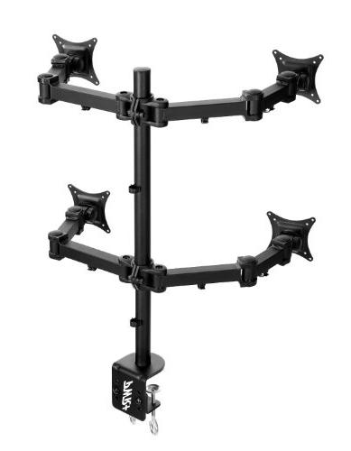 Pwr+ Quad-Monitor-Stand Led-Lcd-Desk-Mount-Clamp for Four-4-