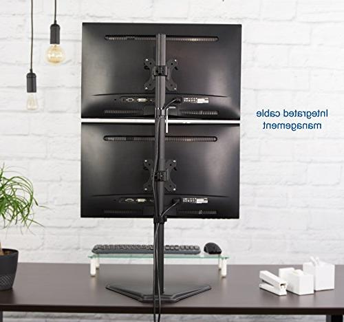 """VIVO Dual Stand Free-standing LCD Holds in Vertical Position 2 Screens up 30"""""""
