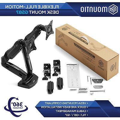 Full Motion Dual Monitor Gas Desk Mount up to
