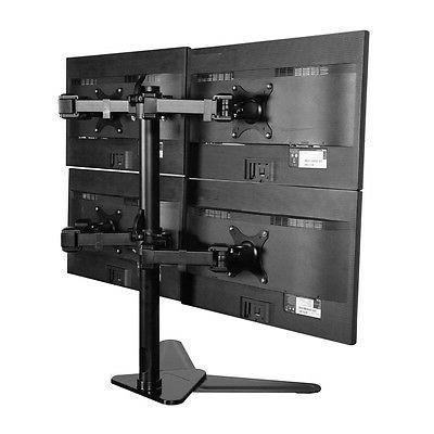 Quad Monitor Free Standing Desk Mount / four Arm LCD Stand 4