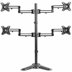 Quad LCD Monitor Mount Fully Adjustable Desk Stand   For 4 S
