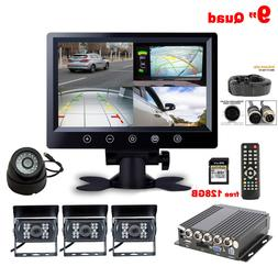 Truck 9'' Quad LCD Monitor+128GB DVR 4XCCD Side Front Backup