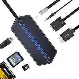 USB Type C Hub Adapter - longee External USB Hub Type C to 4